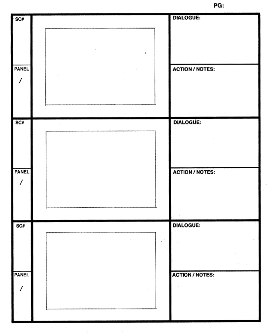 Printable Storyboard with 2x3 grid of 16:9 (widescreen) screens on letter paper